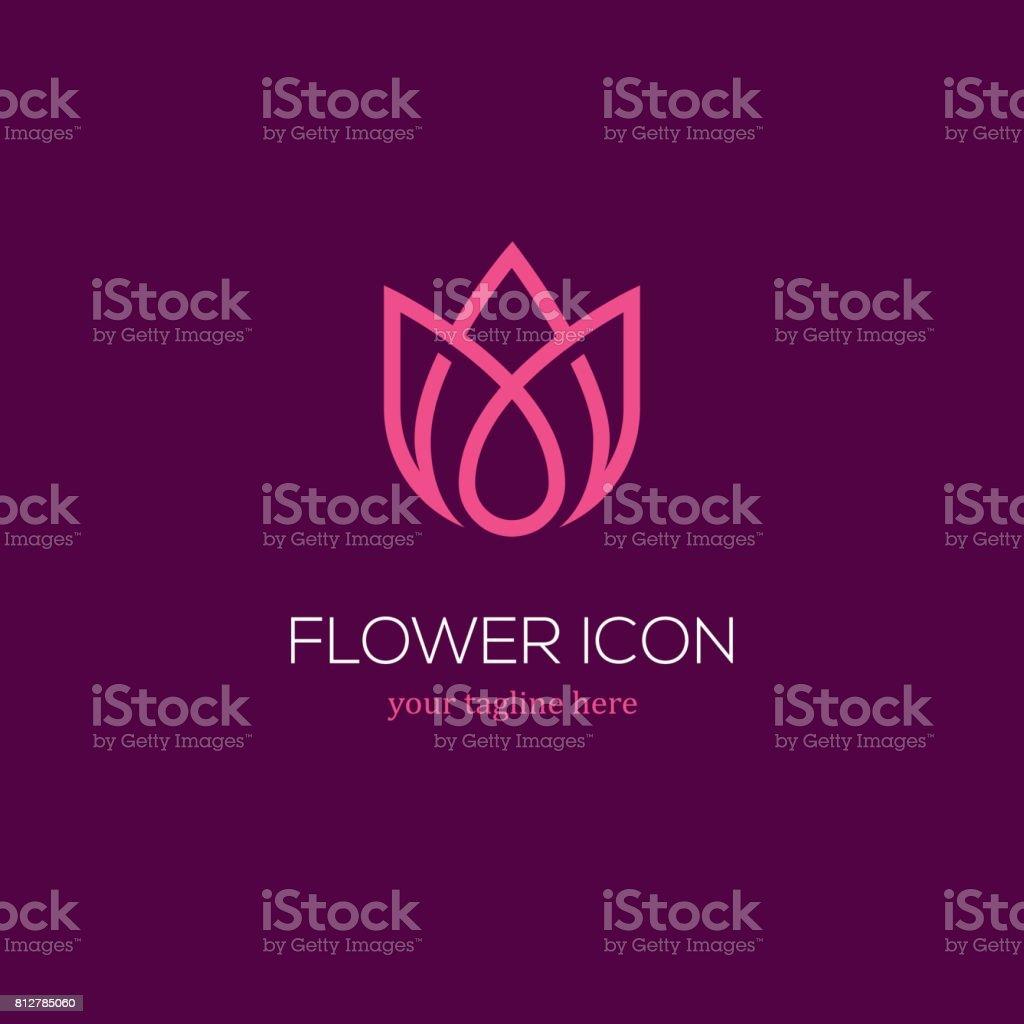 Abstract linear tulip icon vector art illustration