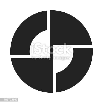 istock Abstract lines and rounded intersecting geometric shapes in a black circle. Minimal style logo design. 1189753895