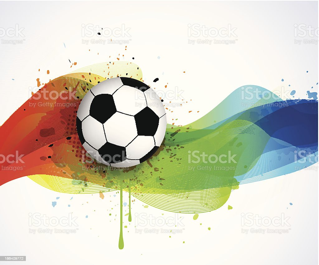 Abstract lines and soccer ball royalty-free stock vector art