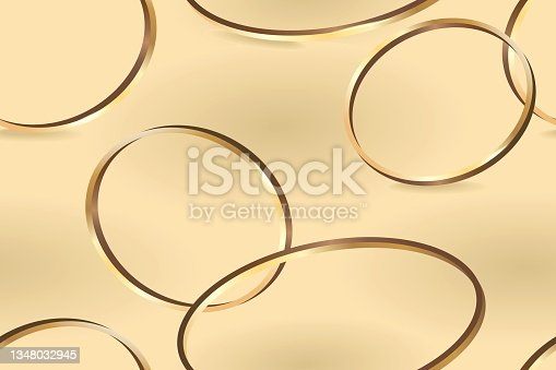 istock Abstract lines pattern of golden rings on a golden background. Vector illustration 1348032945
