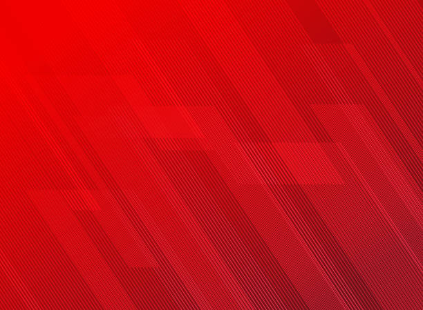 Abstract lines pattern technology on red gradients background. vector art illustration
