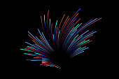 Abstract colorful lines on dark background