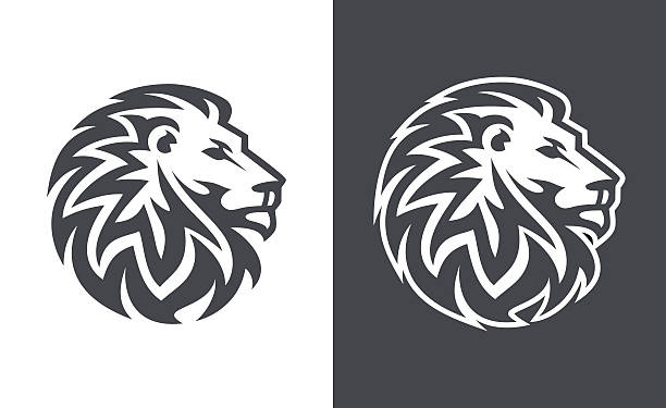 abstract lion head logo vector design - lion stock illustrations, clip art, cartoons, & icons