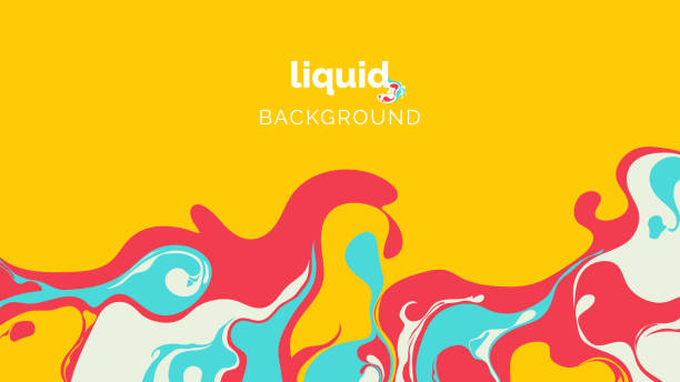 Abstract liquid background, in warm red, blue and light green ink on yellow Abstract liquid background, in warm red, blue and light green ink on yellow artistic background stock illustrations