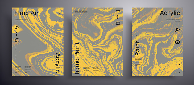 Abstract liquid banner, fluid art vector texture pack. Artistic background that can be used for design cover, invitation, flyer and etc. Trendy colors of 2021 year - gray and yellow