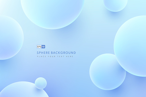 Abstract liquid fluid circles hologram color background. 3D sphere shape light blue. Creative minimal buble trendy gradient template for cover brochure, flyer, poster, banner web. Vector illustration