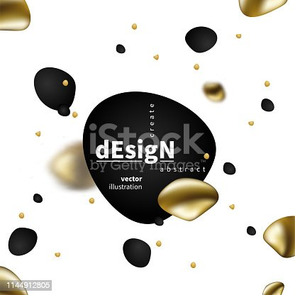 Abstract liquid golden shape. Fluid design. Isolated gradient waves with geometric lines, dots. for your title, banner, flyer,  presentation, brochure, poster.