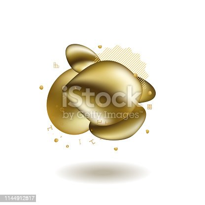 Abstract liquid golden shape. Fluid design. Isolated gradient waves with geometric lines, dots. for your title, banner, flyer, poster.