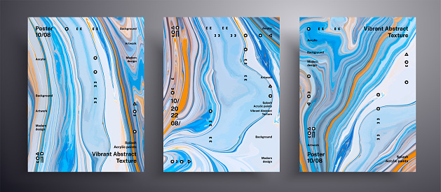 Abstract liquid placard, fluid art texture collection. Trendy background that applicable for design cover, invitation, presentation and etc. Blue, white and golden universal trendy painting backdrop.