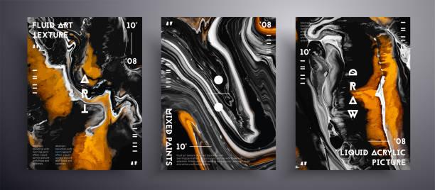 bildbanksillustrationer, clip art samt tecknat material och ikoner med abstrakt flytande plakat, flytande konst vektor textur samling. konstnärlig bakgrund som kan användas för designomslag, affisch, broschyr och etc. gyllene, grå och svart kreativa skimrande konstverk. - konststilar