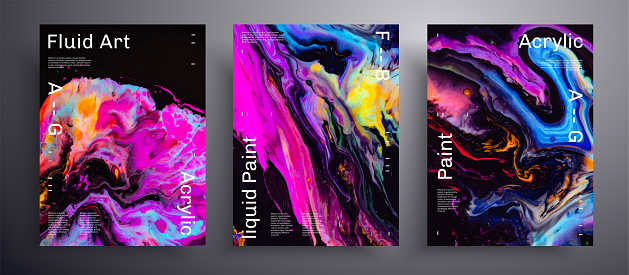 Abstract liquid placard, fluid art vector texture pack. Trendy background that can be used for design cover, poster, brochure and etc. Pink, blue, yellow and black creative iridescent artwork.