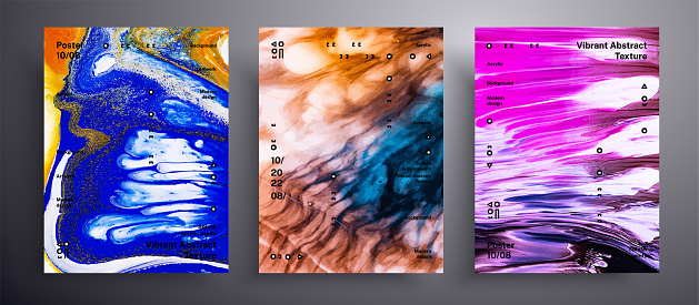 Abstract liquid placard, fluid art vector texture set. Trendy background that can be used for design cover, invitation, flyer and etc. Pink, blue and brown universal trendy painting backdrop.