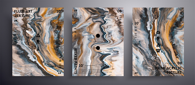 Abstract liquid poster, fluid art vector texture pack. Artistic background that applicable for design cover, poster, brochure and etc. Brown, golden and navy blue unusual creative surface template.