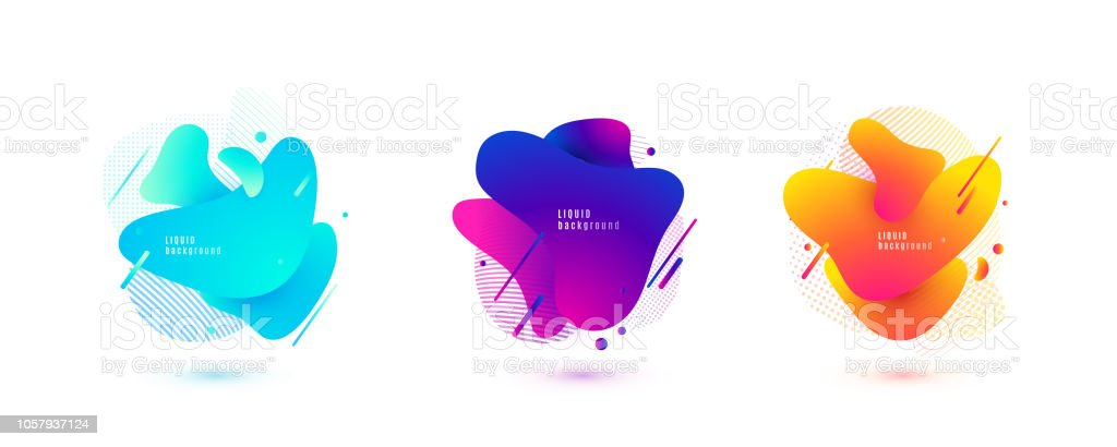 Abstract liquid shape. Fluid design. Isolated gradient waves with geometric lines, dots. Vector illustration royalty-free abstract liquid shape fluid design isolated gradient waves with geometric lines dots vector illustration stock illustration - download image now