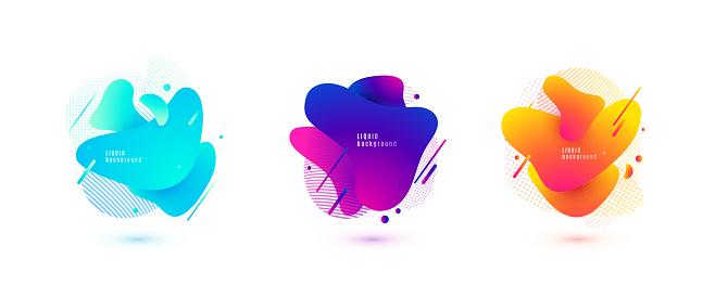 Abstract Liquid Shape Fluid Design Isolated Gradient Waves With Geometric Lines Dots Vector Illustration - Immagini vettoriali stock e altre immagini di Arancione