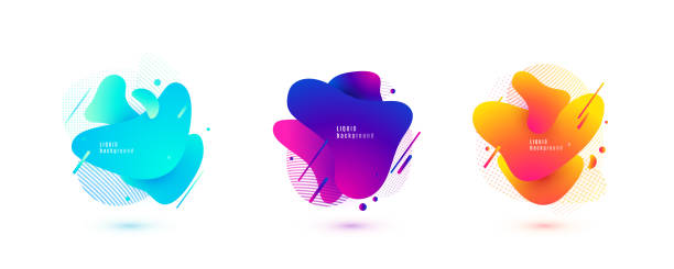 abstract liquid shape. fluid design. isolated gradient waves with geometric lines, dots. vector illustration - насыщенный цвет stock illustrations