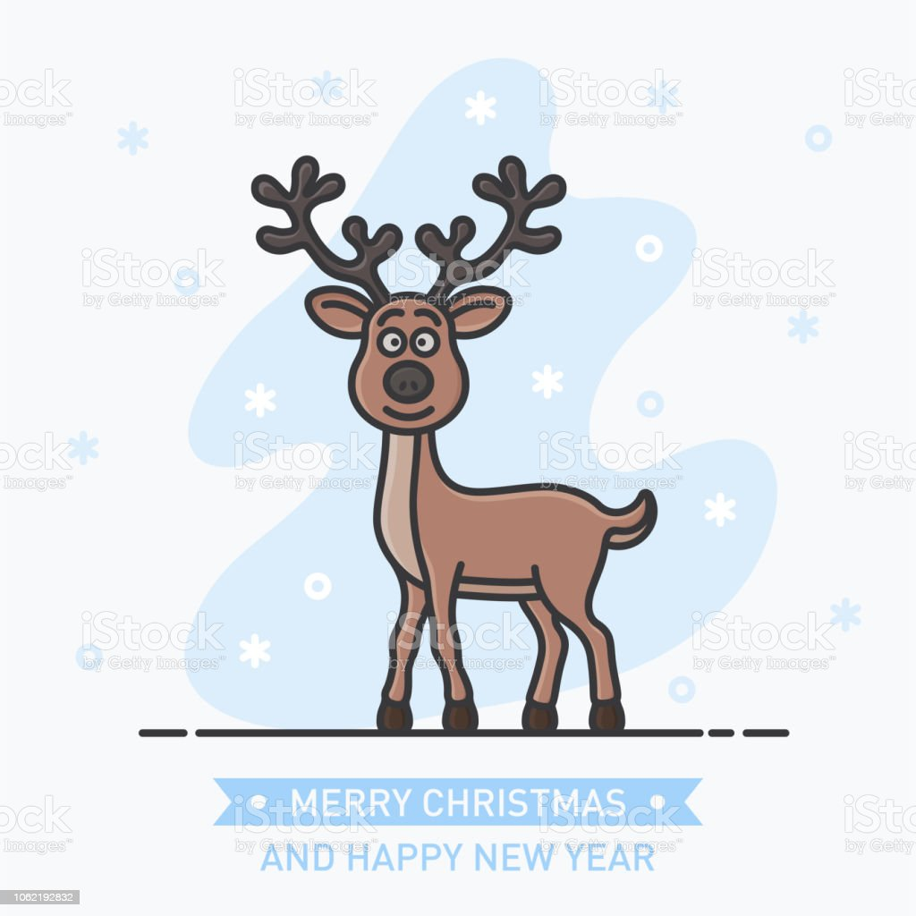 abstract little cute smiling deer on new year background royalty free abstract little cute