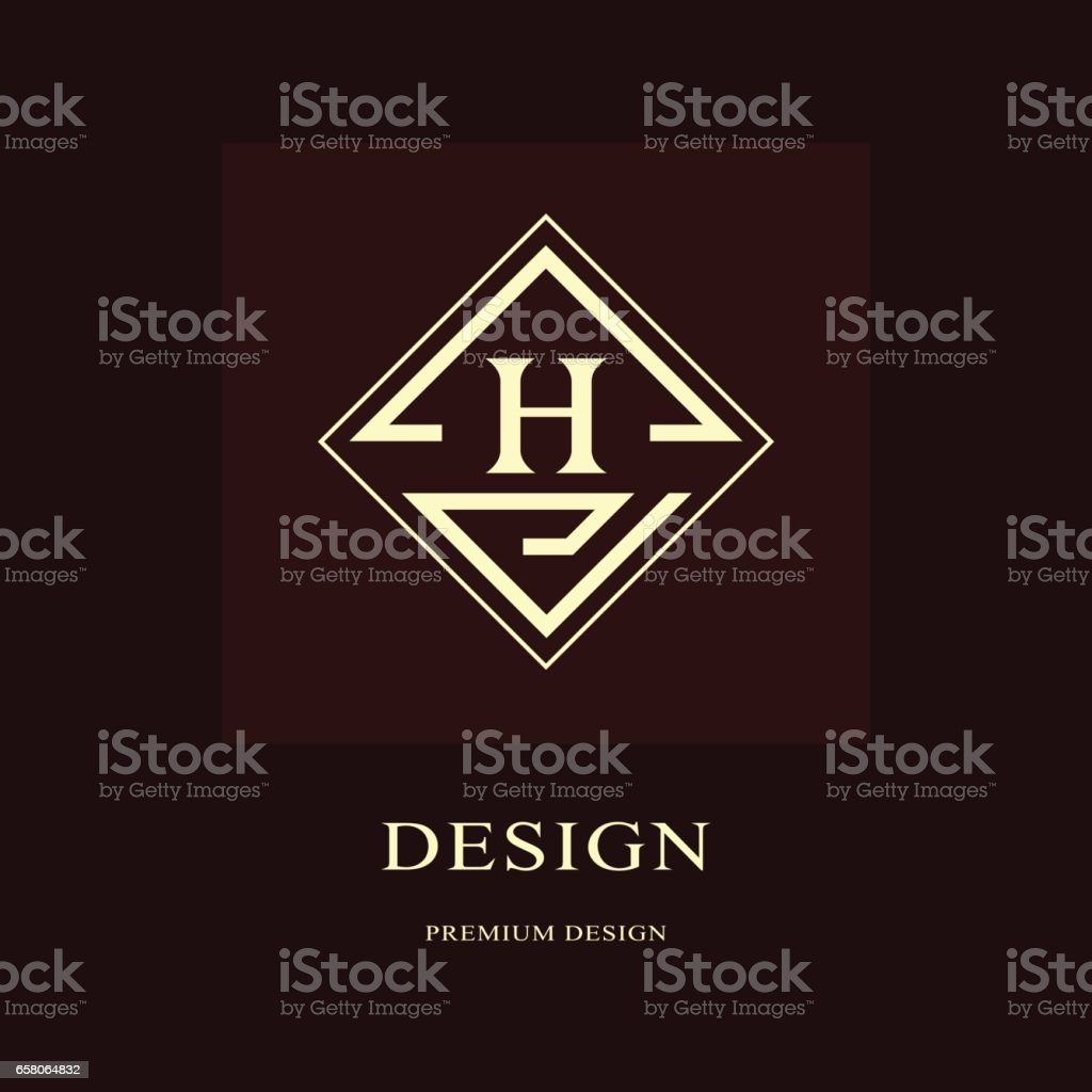 Abstract logo design. Modern luxury monogram. Minimum elements. Letter emblem H. Mark of distinction. Universal rhombus template. Fashion label for Royalty, company, business card. Vector illustration royalty-free abstract logo design modern luxury monogram minimum elements letter emblem h mark of distinction universal rhombus template fashion label for royalty company business card vector illustration stock vector art & more images of abstract