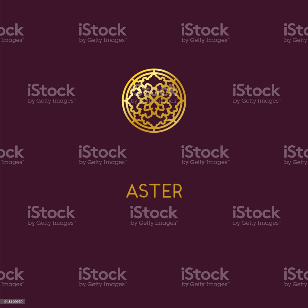 Abstract logo icon design. Elegant Golden Flower symbol in circle. Template for creating unique luxury design, logo, artwork, exhibitions, auctions, corporate products, yoga studio, boutique, spa center, cosmetics, jewelry, hotel, business cards. Universa vector art illustration