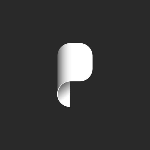 stockillustraties, clipart, cartoons en iconen met abstract logo letter p in de vorm van een opgerolde vel papier, moderne logo in de stijl van materiaalontwerp - letter p