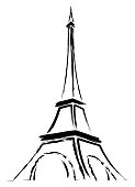 Abstract logo or sign for France, Paris and Eiffel Tower