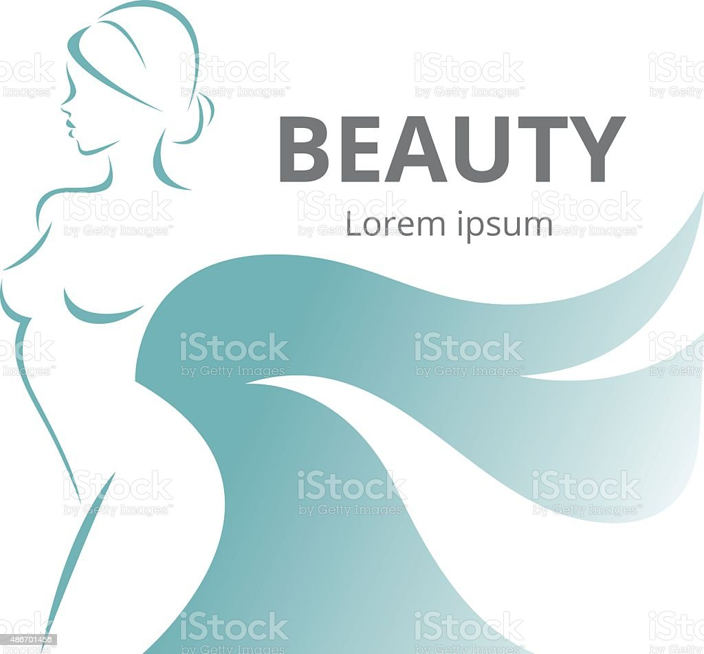 Abstract logo stylized beautiful woman in profile vector art illustration