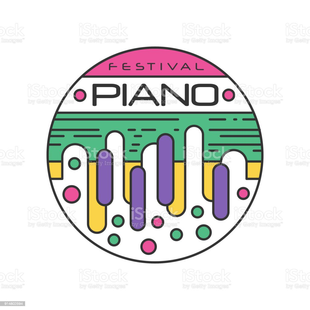 Abstract logo template for music festival creative linear sticker abstract logo template for music festival creative linear sticker with colorful piano keys musical stopboris Images