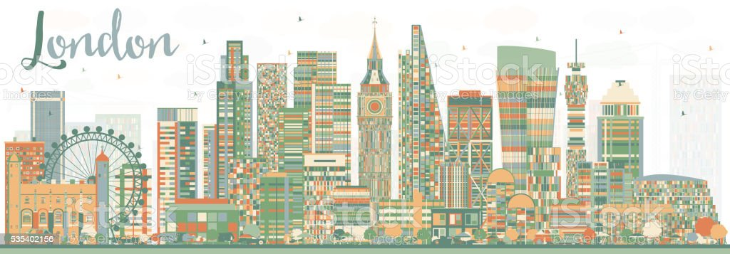 Abstract London Skyline with Color Buildings. vector art illustration
