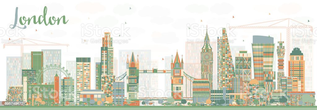 Abstract London Skyline with Color Buildings. Vector Illustration.