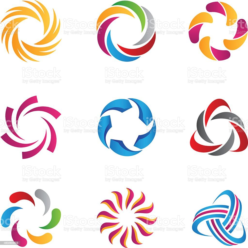Abstract loop logos and icons vector art illustration