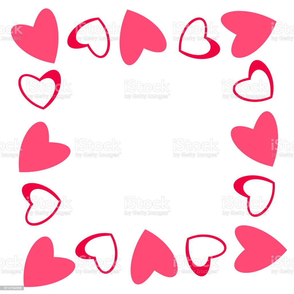 Abstract Love Frame From A Pattern Of Hearts For Greeting Cards