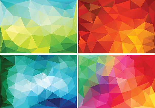 abstract low poly backgrounds, vector set - polygon background stock illustrations