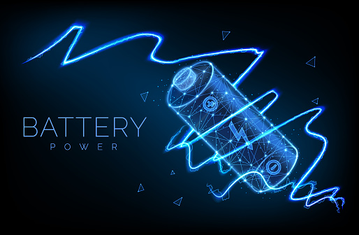 Abstract low poly battery charge from electric discharge or lightning, high voltage, long battery charge and energy, vector illustration.