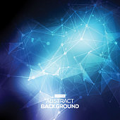 Abstract low poly blue bright technology vector background. Connection structure. Vector data science background. Polygonal vector background.
