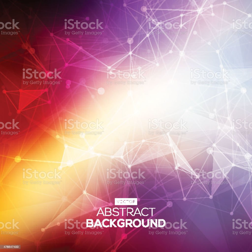 Abstract low poly colorful bright technology vector background. Connection structure. vector art illustration