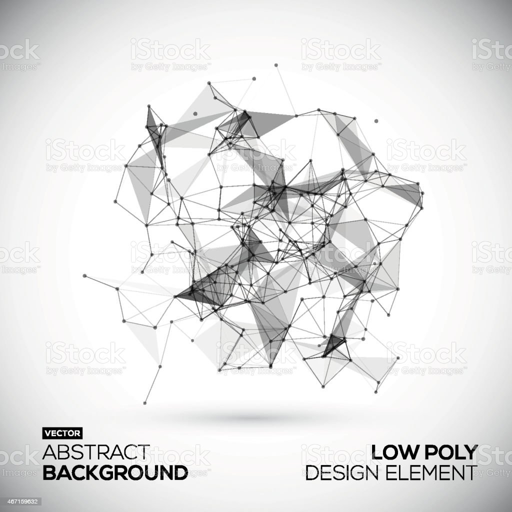 Abstract low poly geometric technology vector design element. Connection structure. vector art illustration