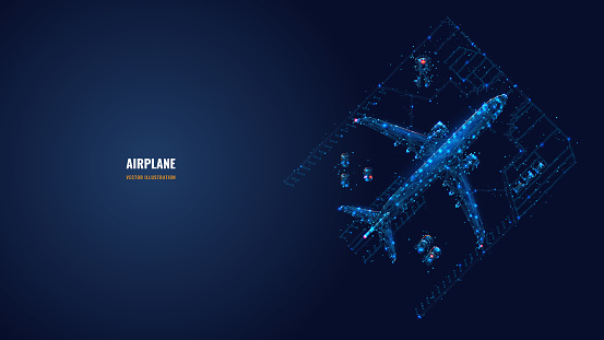 Abstract low poly illustration of airplane concept