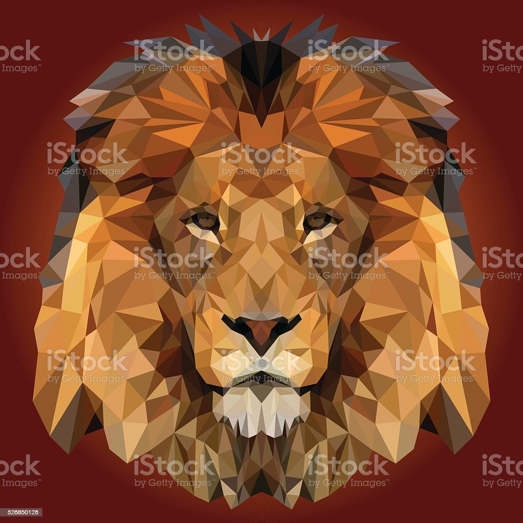 Abstract Low Poly Lion Design - Royalty-free Abstract stock vector