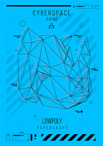abstract low poly template. Poster with poligonal animal. Layout with futuristic HUD elements.