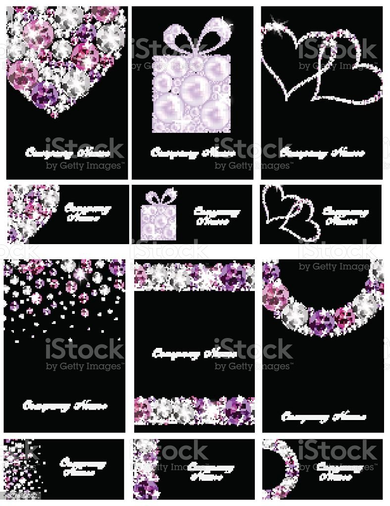 Abstract Luxury Black Diamond Business Card Set Templates Vector ...