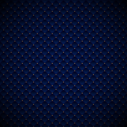 Abstract luxury blue geometric squares pattern design with golden dots on dark background.