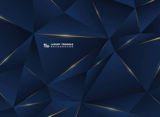 抽象豪華金線與經典的藍色範本溢價背景。裝飾在廣告, 海報, 封面, 印刷, 藝術品的高級多邊形樣式的圖案。 - 獎 幅插畫檔、美工圖案、卡通及圖標
