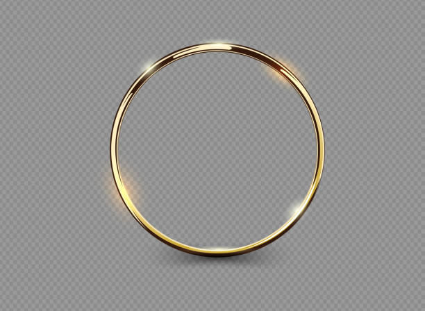 Abstract luxury golden ring on transparent background. Vector light circles spotlight light effect. Gold color round frame. vector art illustration
