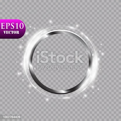istock Abstract luxury metal ring on transparent background. Vector light circles spotlight light effect. Metal color round frame 1002764426