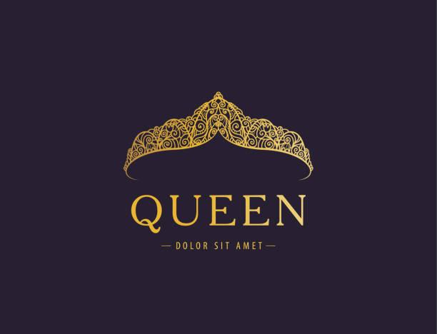 illustrations, cliparts, dessins animés et icônes de abstrait luxe, royal golden société icône vector design. - diademe