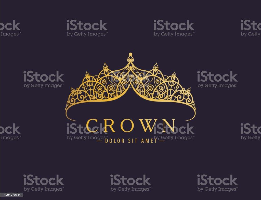 Abstrait luxe, royal golden société icône vector design. - clipart vectoriel de Abstrait libre de droits