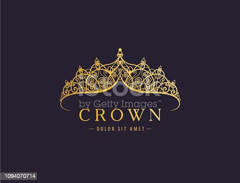 Abstract luxury, royal golden company icon vector design. Elegant crown, tiara, diadem premium symbol. Hand drawn lace jewelry, arabic, restaurant, hotel icon