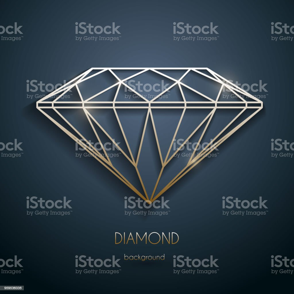 Abstract luxury template with gold diamond outlined shape - eps10 vector vector art illustration