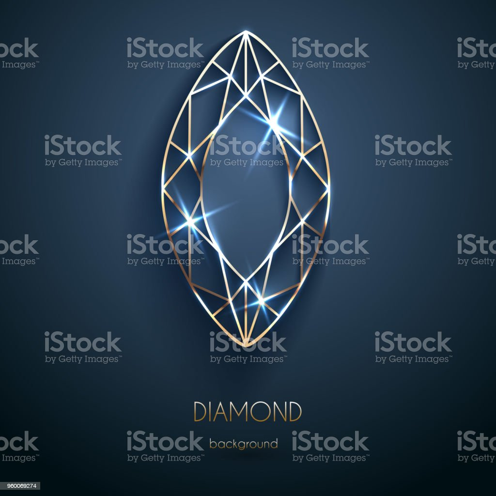 abstract luxury template with golden diamond outlined shape eps10