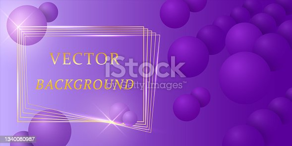 istock Abstract luxury trendybackground with purple balls, 3d spheres, golden lines and gold  frame. Brochure template layout, flyer, cover design, magazine. Gradients.Vector template with violet figures. 1340080987
